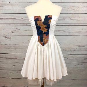 Vintage Geometric Sweetheart Strapless Dress